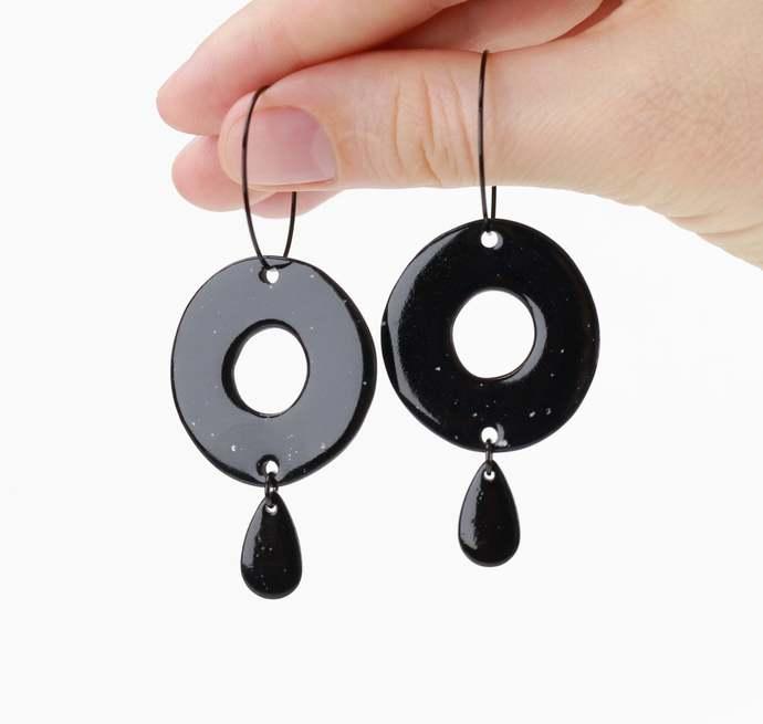 Black porcelain hoop earrings Black ceramic earrings Porcelain jewelry Black sun