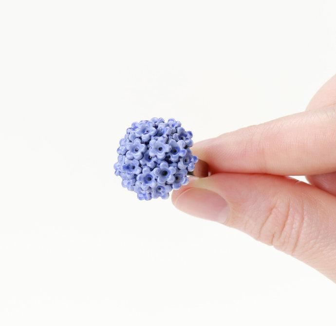Blue flower porcelain ring Adjustable Ceramic ring Forget me nots Blue wedding