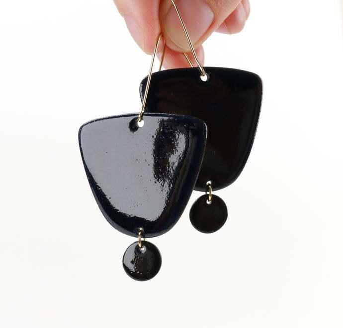 Night sky blue porcelain earrings Circle Ceramic jewelry gift Blue moon earrings