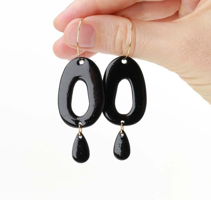 Black porcelain hoop earrings Black ceramic earrings Porcelain jewelry Black