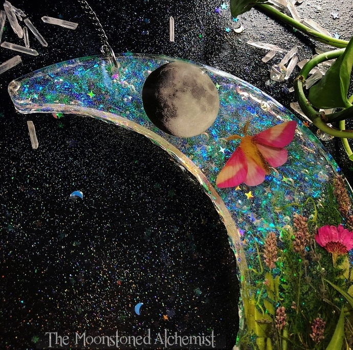 LG Crescent Moonscape wall piece featuring a Rosy Maple Moth