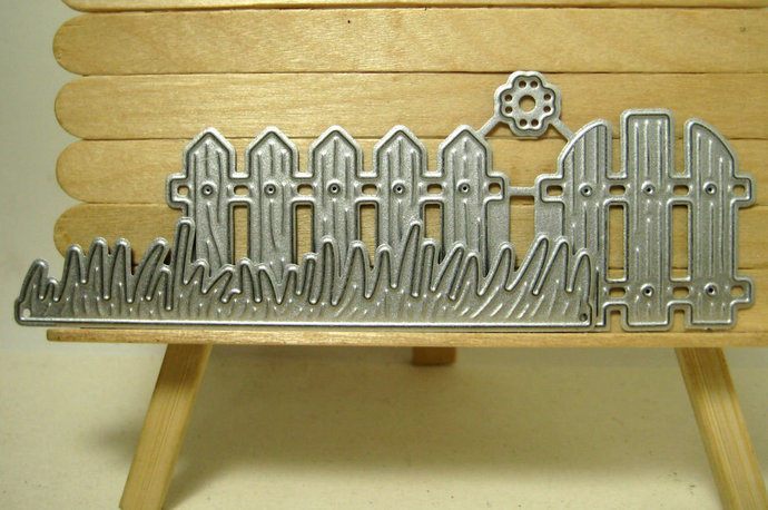 4pc Fence, Gate, Grass, Flower Cutting Die Set
