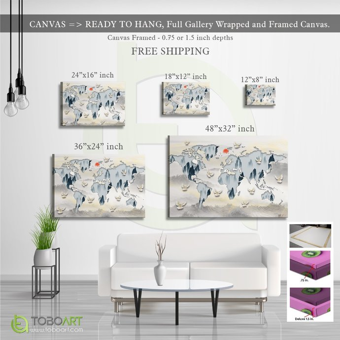 FREE SHIPPING - Minimalist World Map CV55, Flying Bird Art CV55 Landscape Canvas