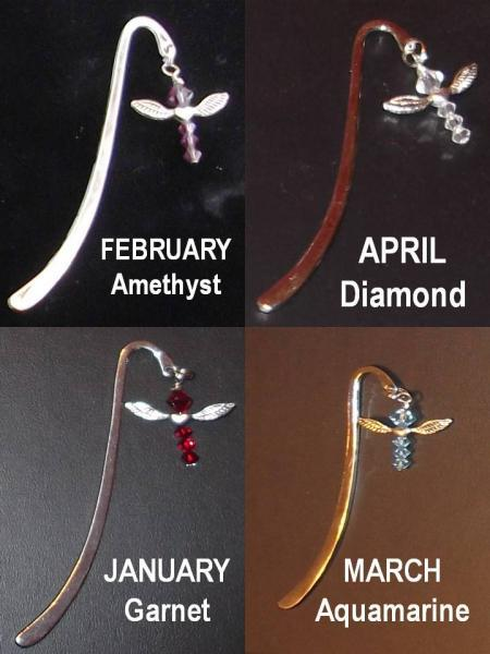 Swarovski crystal birth crystal by month silver toned angel bookmark