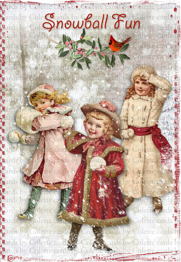 Christmas Girls Snowball Fun Digital Collage Greeting Card2493
