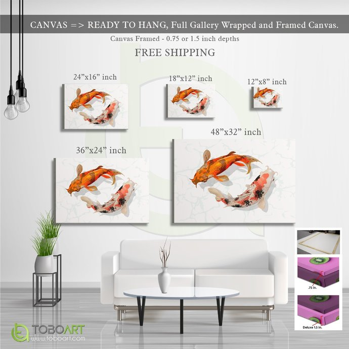 FREE SHIPPING - 3D Canvas Koi Fish, Marble Art CV48
