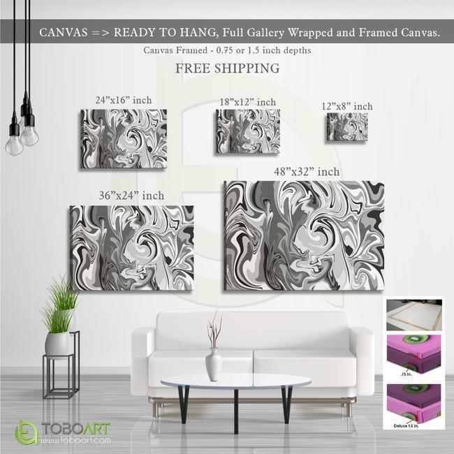 FREE SHIPPING - Marble Black and White Art Cv45