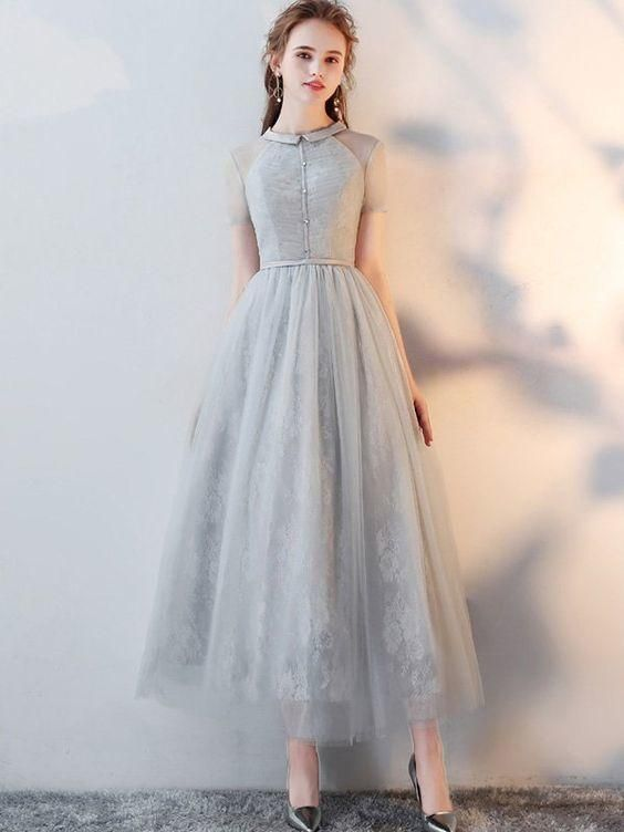 Gray Lace Turn-down Collar Short Sleeves Tulle A-Line Dress  ML2550