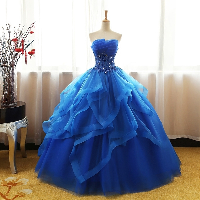 Gorgeous Blue Long Tulle Layers Sweetheart 16 Dresses, Prom Dress