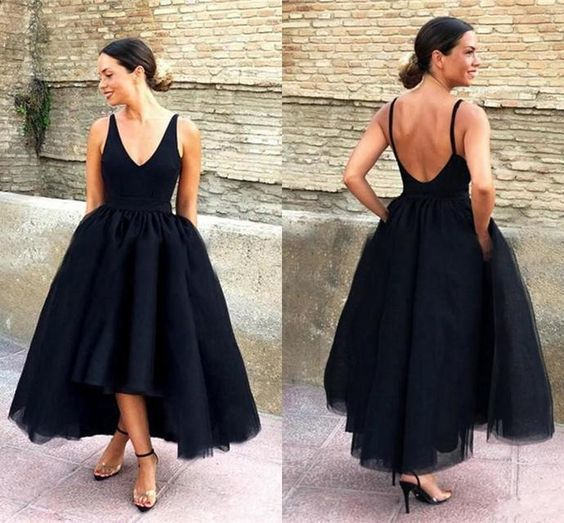 Black Prom Dresses Deep V-Neck High Low Spaghetti Straps Open Back Arabic Formal