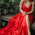 Red v neck satin long prom dress, red evening dress