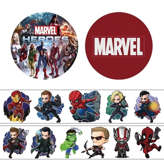 1 Roll of Japanese Anime and American Cartoon Washi Tape: Marvel Hero, One