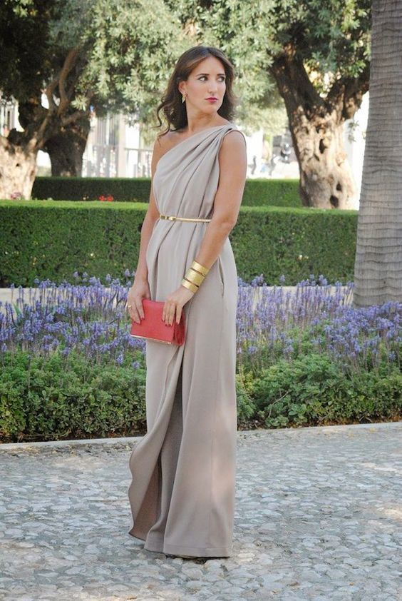 One Shoulder Maxi Evening Dress,Long Formal Party Gown