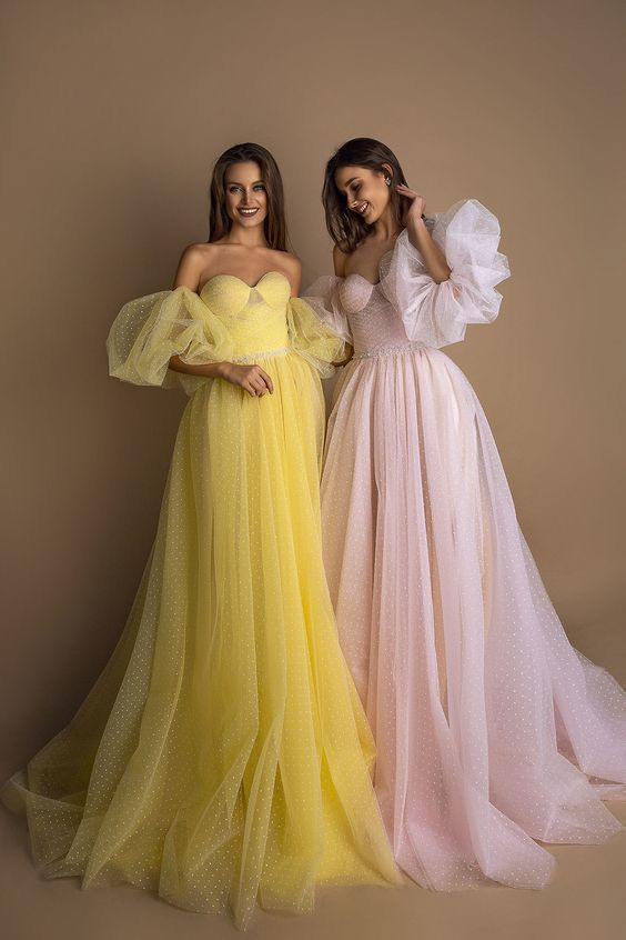 pink tulle prom dress new evening dress