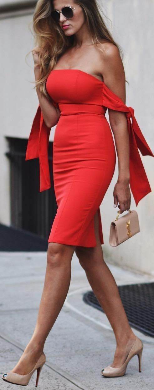 Off the Shoulder Midi Red Dress,Strapless Party Dress,Simple Evening Dress
