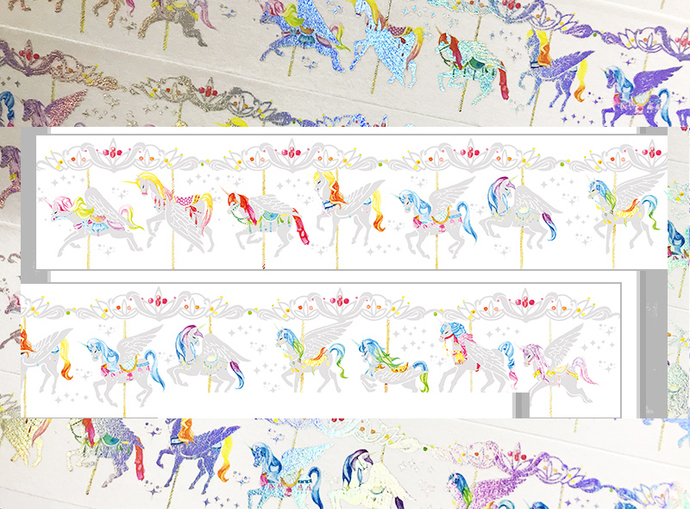 1 Roll Limited Edition Foiled Washi Tape - Merry-go-Around Unicorn