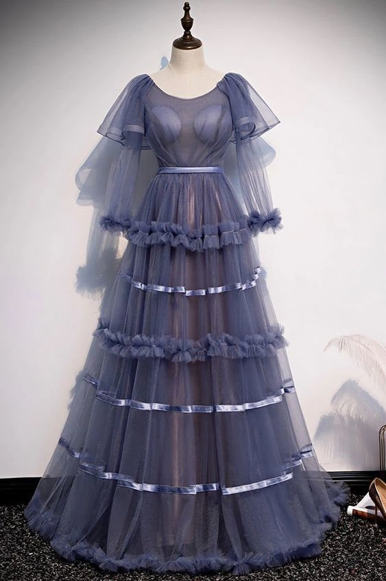 Blue Tulle Long Sleeve Round Neck Long Formal Prom Dress