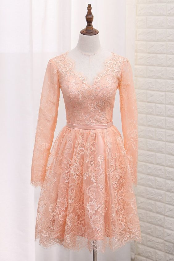 A Line V Neck Long Sleeves Lace Homecoming Dresses With Sash
