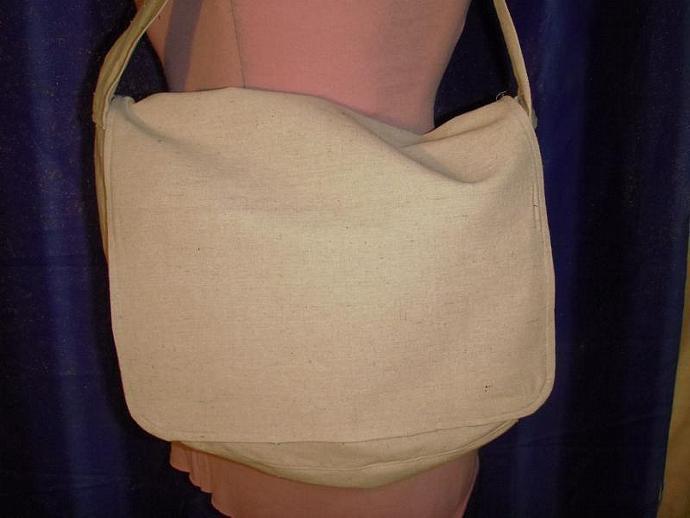 Designer Canvas Messenger Bag with zippered pockets