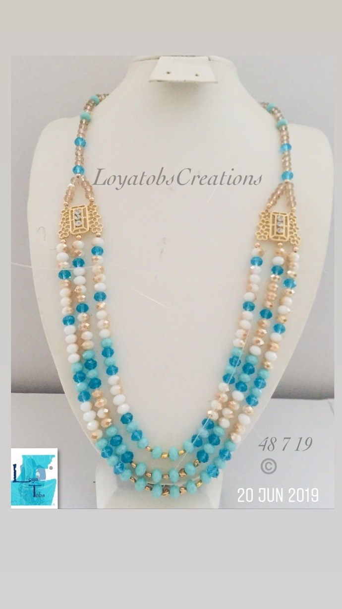Multi Row Necklace in Turquoise