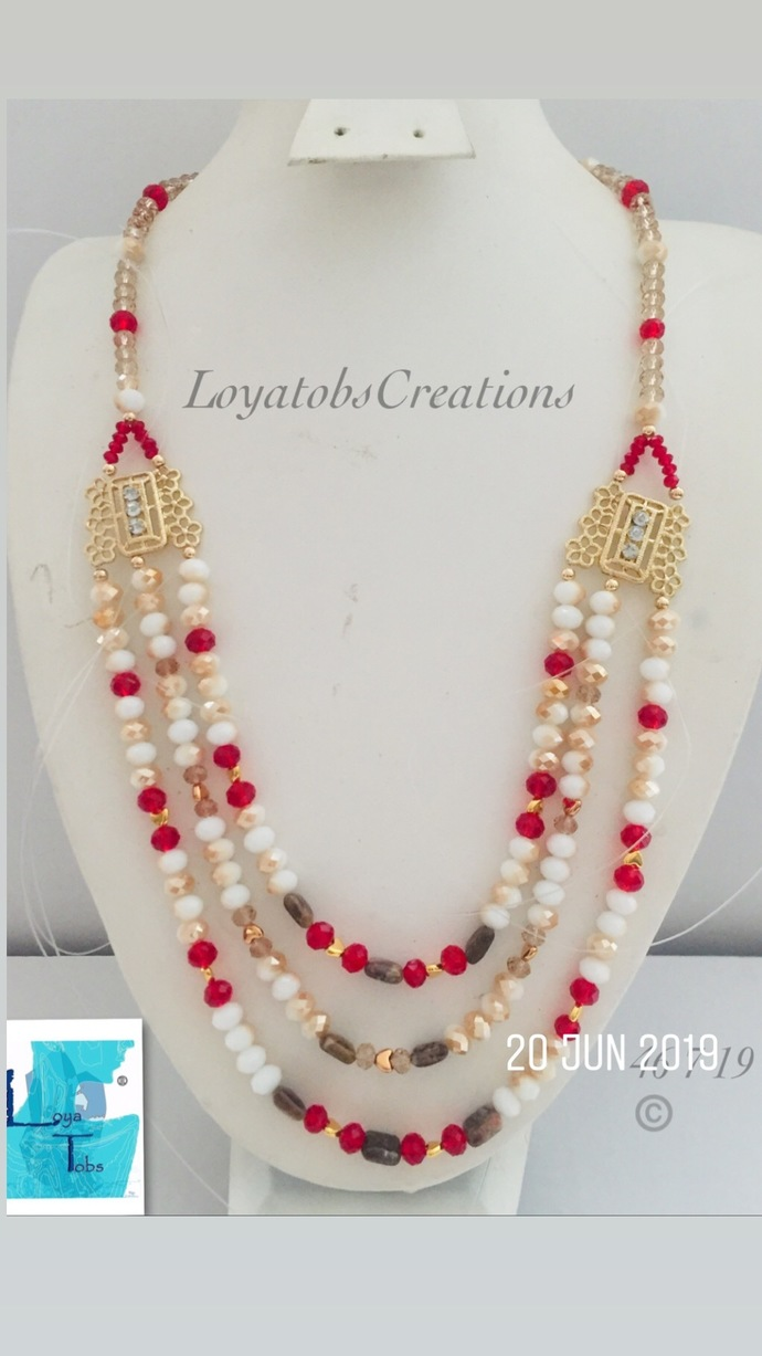 Multi Row Necklace in Red