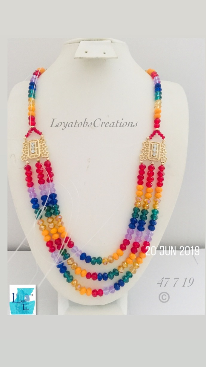 Multicoloured three row Necklace