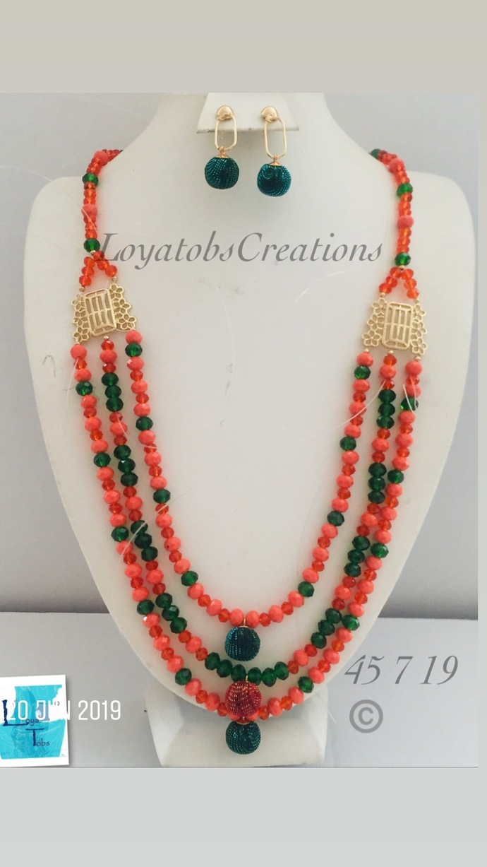 Orange and Green three row Necklace and Earring Set