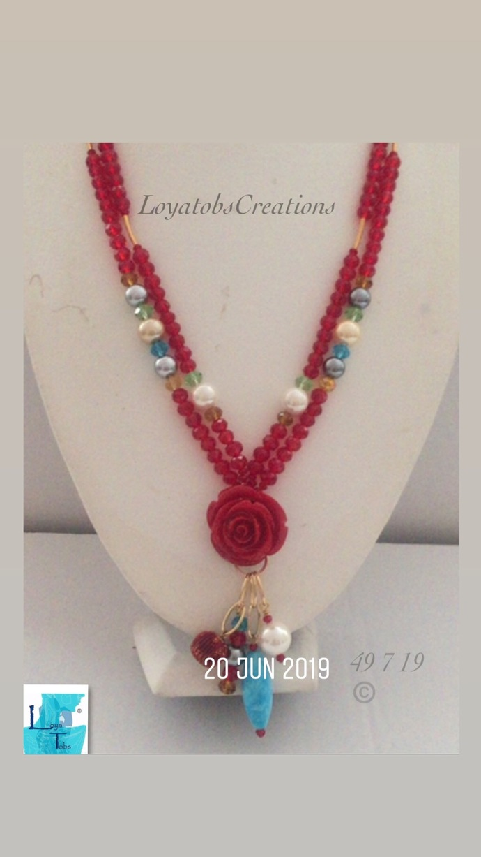 Red Rose Two Row Necklace