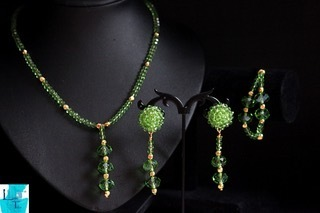 Green Crystal Necklace, Earring and Bracelet set