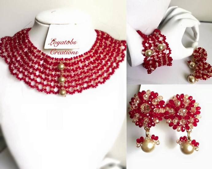 Carmine necklace , Earring and Bracelet set
