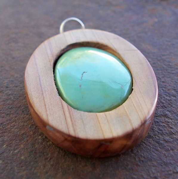 Cedar Wood and Natural Kingman Turquoise Pendant