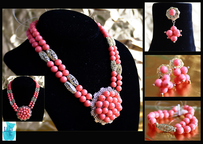 Peach Delight Necklace, Earring and Bracelet Set