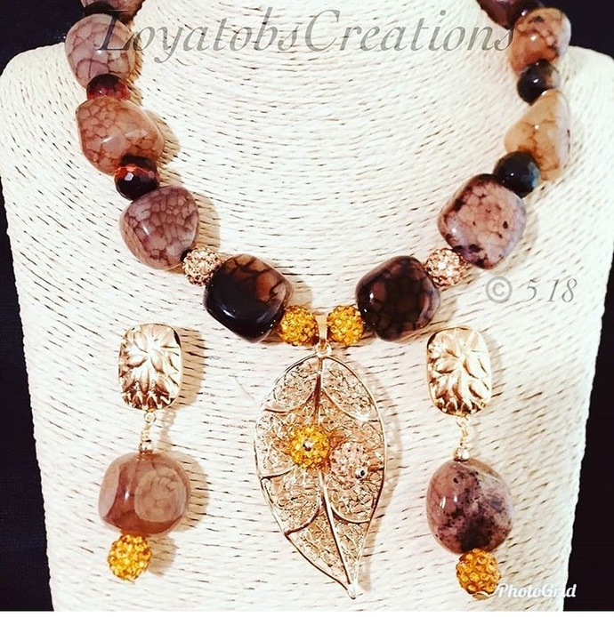 Brown Agate Nuggets and Tiger Eye