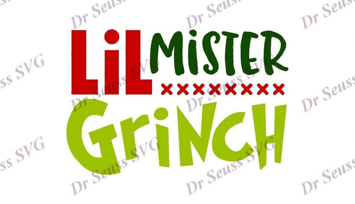 Little Mister Grinch Dr Seuss SVG, svg, dxf, Cricut, Silhouette Cut File,