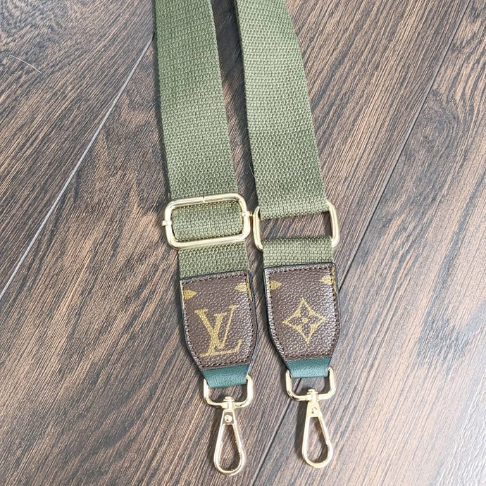 Customized LV green bag strap - Louis Vuitton bag strap - upcycled LV bag strap