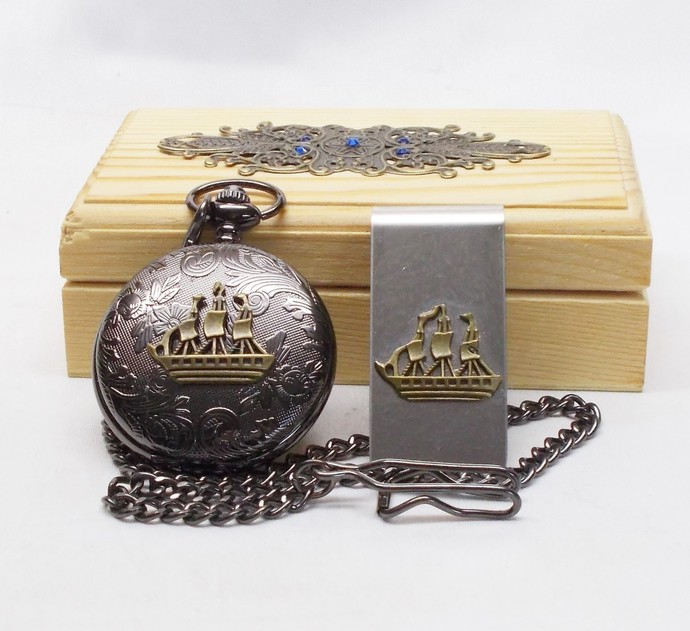 Pocket Watch and Money Clip Set in Wood Gift Box Artisan Black and Bronze Ship