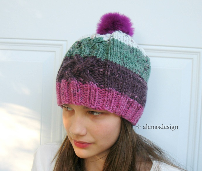 Cable Knit Hat Pattern, Cabled Hat Pattern, Slouchy Beanie Pattern, Children