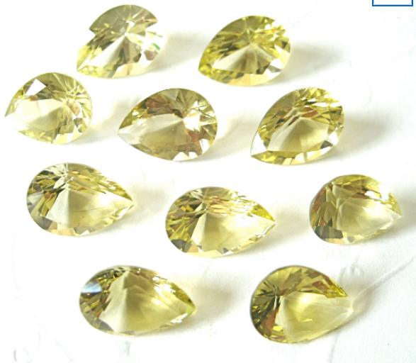 Lemon Quartz Faceted Gemstone Pear 11x8mm FOR ONE