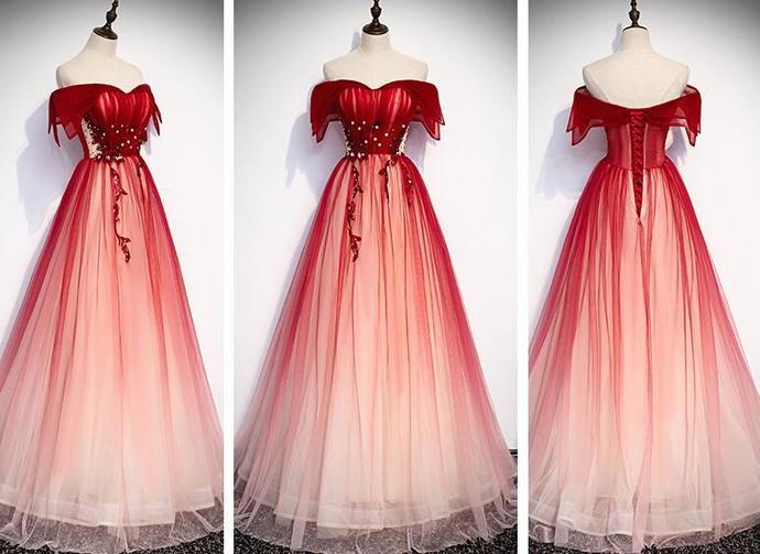 Charming Long Tulle Gradient Party Dress, Off Shoulder Prom Dress