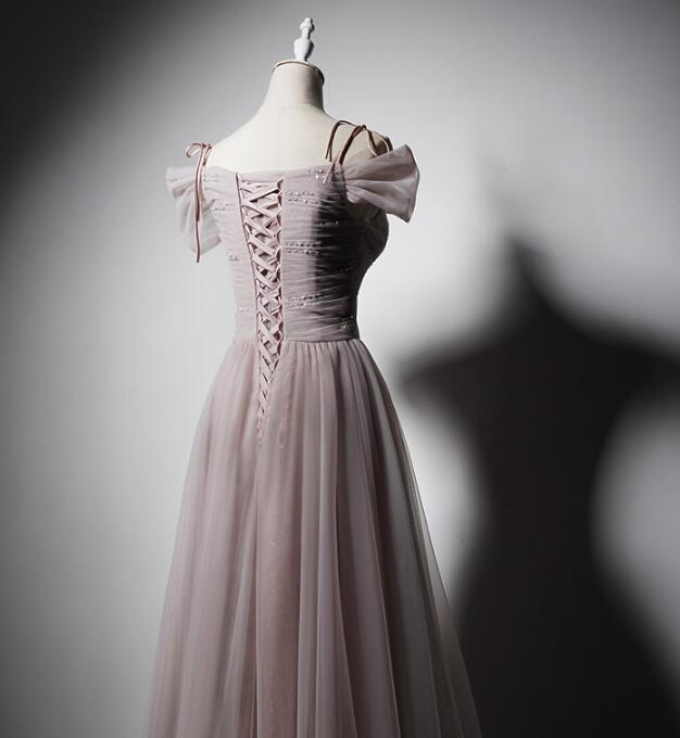 Dark Pink Tulle Long Party Dress 2020, Straps Cute Prom Dress