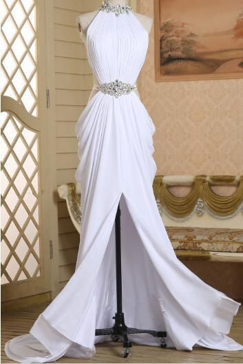 White Spandex Slit Beaded Sexy Evening Gown, Halter Party Dress