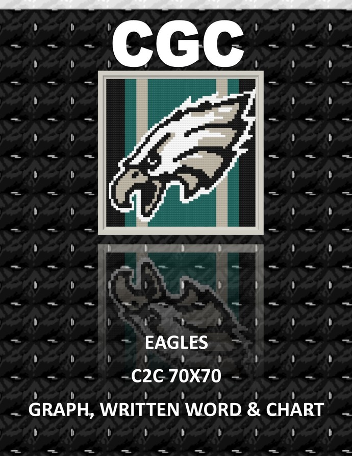 Eagles Striped C2C Crochet Written, Color Blocks, and Graph Design