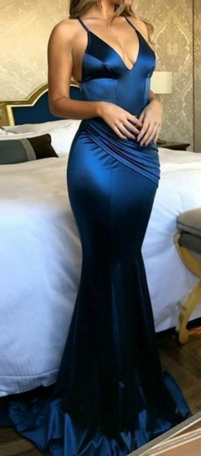 Mermaid Spaghetti Straps Sweep Train Royal Blue Prom Dress