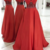 Red Prom Dresses Spaghetti Straps Crystal A-line Satin,2817