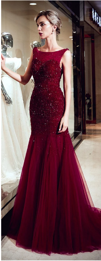 Red Sparkly Beaded Mermaid Sleeveless Tulle Sequin Backless Prom Dresses,2821