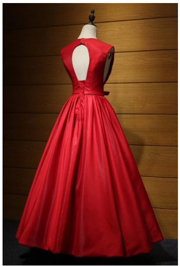 Red satin V neck hollow out back long senior prom dress with bowknot,2822