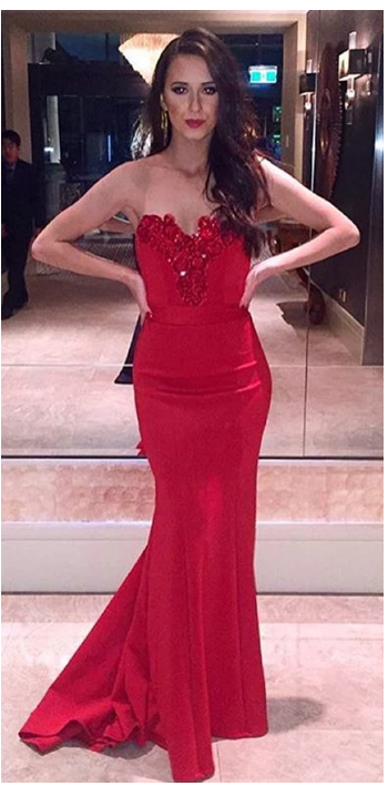 Red Sweetheart Mermaid Prom Dress, Evening Gown,Homecoming Dress Crystals Party