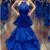 Royal Blue Halter Lace Appliques Prom Dresses Mermaid Evening Dresses,2825