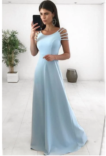 Round Neck Blue Long Prom Dresses Cap Sleeves Party Dresses for Women,2827