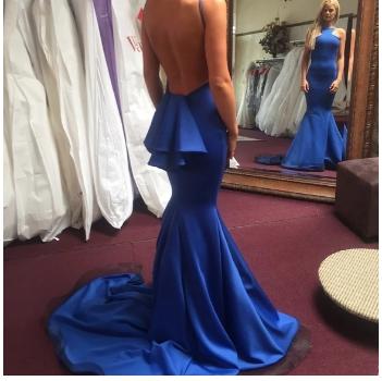 Royal Blue Mermaid satin prom Dresses Open back women Party Dresses,2829